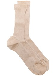 Red Valentino Mid Calf Knitted Socks Gold