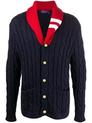 Ralph Lauren Purple Label Colour Block Cable Knit Cardigan Blue
