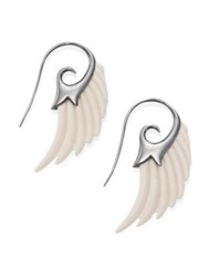 Noor Fares Fly Me To The Moon Ivory Wing Earrings Ivory Silver