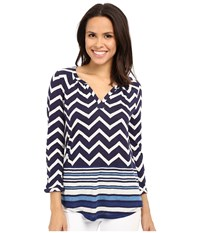 Lucky Brand Chevron Print Top Navy Multi Women's Blouse Blue