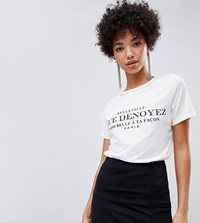 River Island T Shirt With Slogan In White White