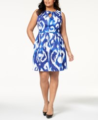 Ellen Tracy Plus Size Belted Printed Dress Blue White