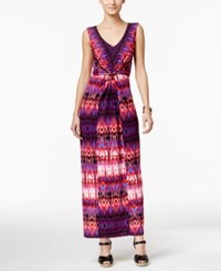 Ny Collection Petite Knot Front Printed Maxi Dress Pink Tinder