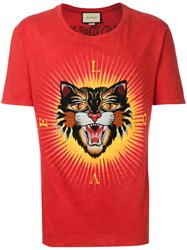 Gucci Angry Cat Applique T Shirt Men Cotton Polyester S Red