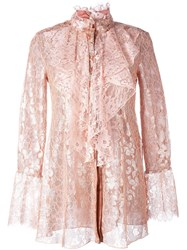 Lanvin Floral Lace Ruffled Blouse Pink And Purple