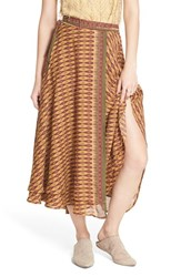 Women's Free People 'Good For You' Print Wrap Midi Skirt