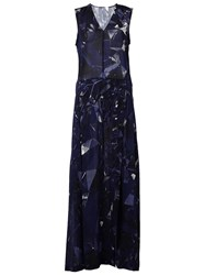 Ilaria Nistri Printed Long Dress Blue