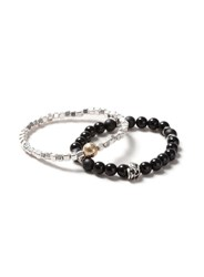 Topman Multi Mixed Metal Beaded Skull Bracelet 2 Pack