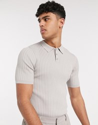 Asos White Muscle Fit Knitted Polo Tee In Beige