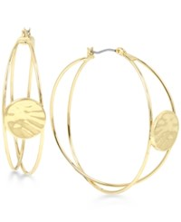 Robert Lee Morris Soho Gold Tone Hammered Disc Multi Dimensional Hoop Earrings