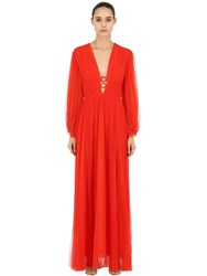 Maria Lucia Hohan V Neck Hoops Pleated Tulle Long Dress Red