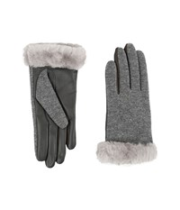 Ugg Shorty Smart Fabric Gloves W Short Pile Trim Stormy Grey Multi Extreme Cold Weather Gloves Gray