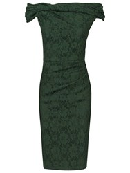 Jolie Moi Bardot Neck Dress Dark Green