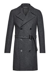 French Connection Men's Drake Wool Double Breast Peacoat Grey