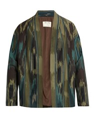 Etro Printed Wool And Cotton Blend Jacket Green Multi