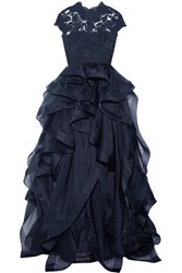 Reem Acra Corded Lace And Ruffled Silk Organza Gown Navy