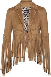 Just Cavalli Studded Fringed Faux Suede Jacket Camel