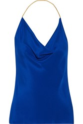 Cushnie Et Ochs Open Back Chain Trimmed Silk Crepe De Chine Halterneck Top Bright Blue