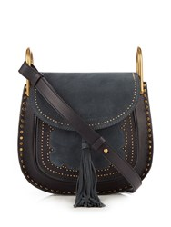 Chloe Faye Small Suede And Leather Shoulder Bag Dark Blue