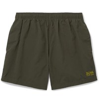 Hugo Boss Short Length Logo Embroidered Swim Shorts Green