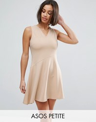 Asos Petite Skater Dress With Asymmetric Full Skirt Dress With V Neck Nude Pink