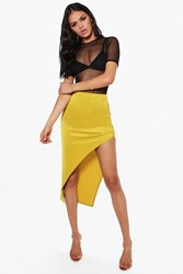 Boohoo Rouched Side Thigh Split Midi Skirt Chartreuse
