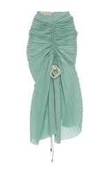 Marni Ruched Muslin Plisse Skirt Green