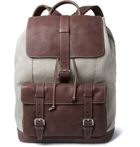 Brunello Cucinelli Canvas And Textured Leather Backpack Brown