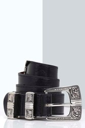 Boohoo Metal Tipped Western Belt Black