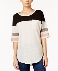 American Rag Colorblocked Graphic T Shirt Only At Macy's Oatmeal Combo