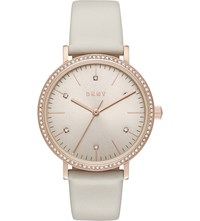 Dkny Ny2609 Minetta Stainless Steel And Leather Watch