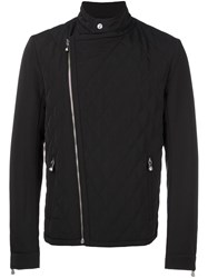 Versus Quilted Biker Jacket Black