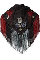 Alexander Mcqueen Fringed Printed Silk Blend Jacquard Scarf Black