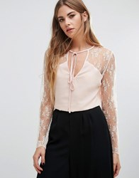 Fashion Union Lace Top With Choker Neck Tie Pink