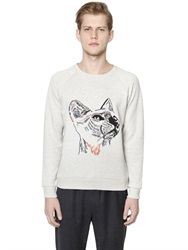 Paul And Joe Cat Embroidered Cotton Sweatshirt