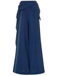 Roland Mouret Argott Wide Leg Silk Blend Trousers Blue