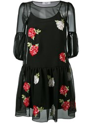 Blugirl Embroidered Flower Dress Women Polyester Viscose 40 Black