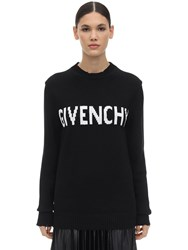 Givenchy Intarsia Logo Cotton Knit Sweater Black