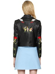 Vivetta Embroidered Grained Leather Biker Jacket