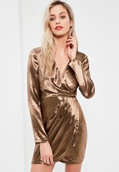 Missguided Bronze Satin Long Sleeve Wrap Dress