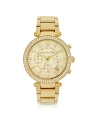 Michael Kors Golden Stainless Steel Parker Chronograph Glitz Women's Watch
