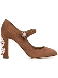 Dolce And Gabbana Embellished Heel Pumps Brown