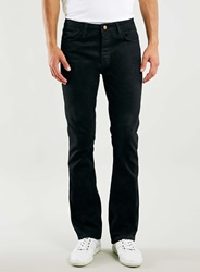 Topman Solid Black Raw Flare Jeans