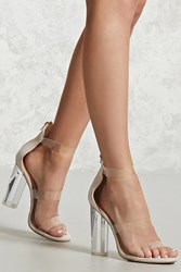 Forever 21 Faux Suede Lucite Ankle Heels