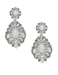 Marchesa Rhodium Opal Silver Plated Drama Drop Earrings