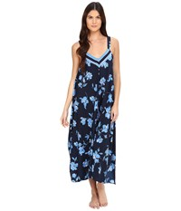 Oscar De La Renta Border Printed Crepe Long Gown Blue Magnolia Border