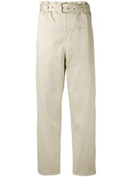 Ter Et Bantine Belted Trousers Women Cotton 38 Nude Neutrals