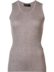 Calvin Klein Collection Ribbed Cashmere Tank Nude And Neutrals