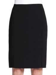 Akris Architecture Collection Double Face Wool Pencil Skirt Black