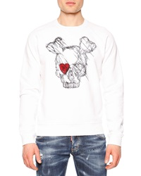 Dsquared Long Sleeve Skull W Red Eye Sweatshirt White